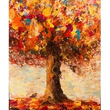 Herbstbaum mit Korken gemalt