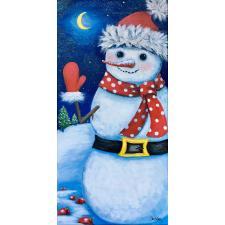 Schneemann mit rotem Schal